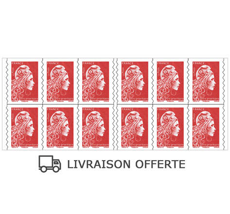 Carnet 12 timbres Marianne l'engagée -  Lettre prioritaire - Rouge
