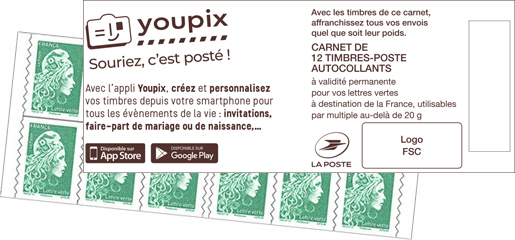 Carnet de 12 timbres Marianne l'engagée - Vert - Youpix