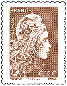 Timbre Marianne l'engagée - Brun - 0,10€