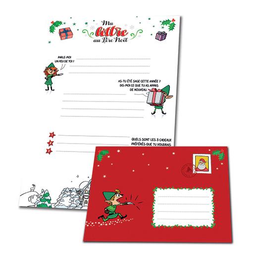 Kit ma lettre au p re no l carterie commande de cartes et d enveloppes timbres beaux - Enveloppe de noel ...