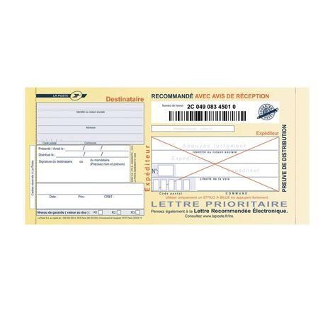 Boîte de 100 liasses recommandées guichet avec AR SGR2 TECHMAY