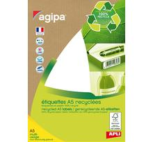 Etui A5 ( 14F ) de 168 étiquettes multi-usage RECYCLEES 56x34 mm Blanc AGIPA