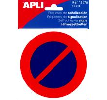 Pictogramme Interdiction de se stationner 114x114 mm APLI