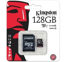 Carte mémoire Micro Secure Digital (micro SD) Kingston 128 Go SDXC Class 10 avec adaptateur