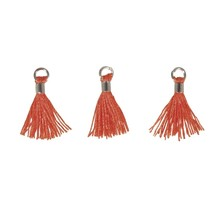 3 Mini-pompons avec œillet 15 mm - orange