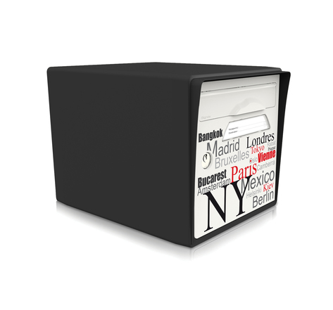 Boite aux lettres normalisée 1 porte - Capitales du monde / noir intense - Made in France