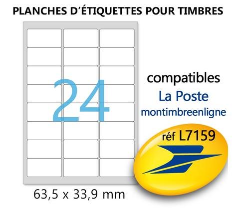 Lot de 10 Planches A4 de 24 étiquettes spéciales TIMBRE - 6,35 x 3,39 cm = 240 étiquettes