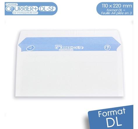 Lot de 100 Enveloppes blanches DL - gamme Courrier+ (sans fenêtre)