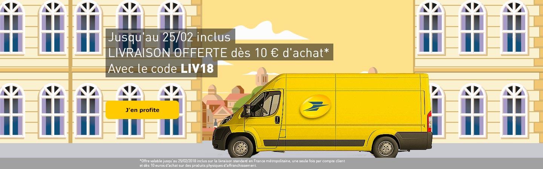 Livraison offerte dès 10€ d'achat* avec le code LIV18