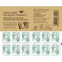 carnet 12 timbres marianne