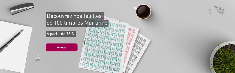 Découvrez nos feuilles de 100 timbres Marianne